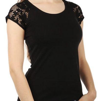 Dámské jednoduché tričko s krajkou černá