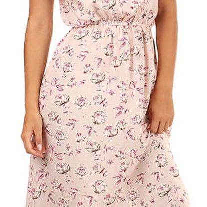 Dlouhé letní šaty s květinovým vzorem růžová