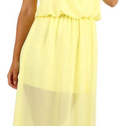 Dlouhé šifonové maxi šaty žlutá