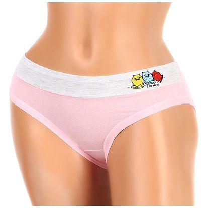 Bavlněné kalhotky s veselým potiskem světle růžová