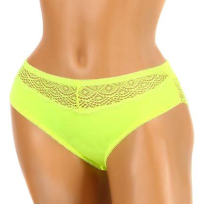 Bambusové kalhotky s krajkou neon žlutá