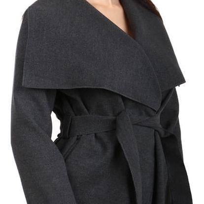 Dámský krátký kabátek s páskem šedá