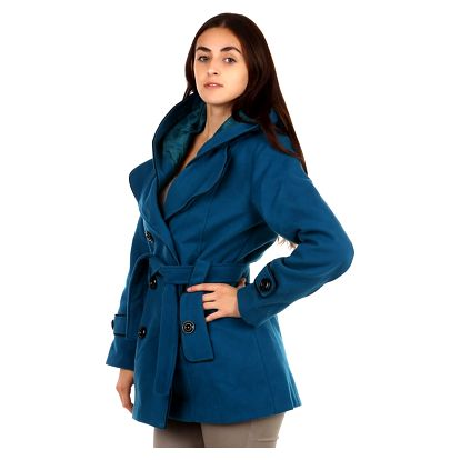 Dámský zimní kabát s kapucí hnědá