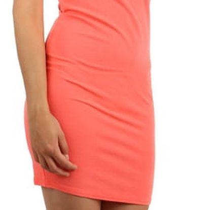 Pouzdrové šaty s průhlednými rameny lososová