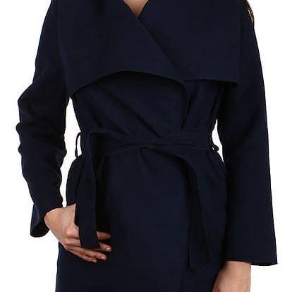 Dlouhý kabát - kardigan s páskem tmavě modrá