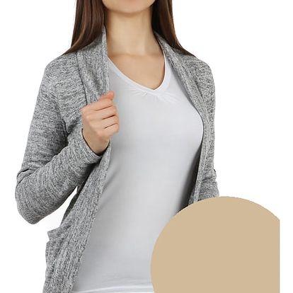 Stylový cardigan s dlouhým rukávem béžová