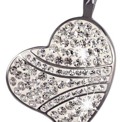 Přívěsek srdce zdobené kamínky