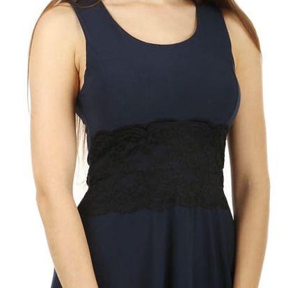 Krátké šaty s krajkou v pase modrá