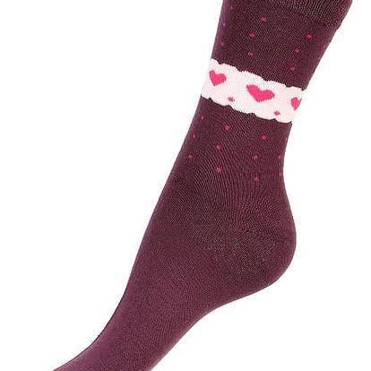Ponožky se srdíčky fialová