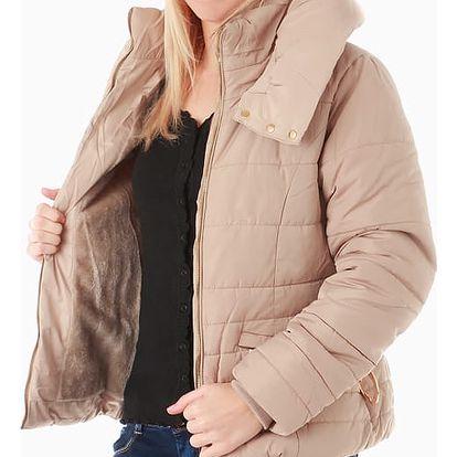 Zimní bunda s páskem béžová