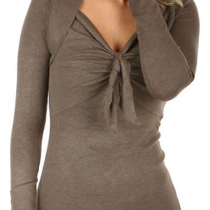 Dlouhý svetr/šaty s ozdobným uzlem tmavě béžová