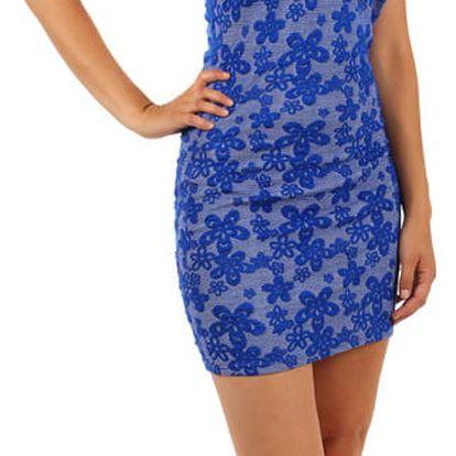 Šaty s květinovým vzorem a průhlednými rameny modrá