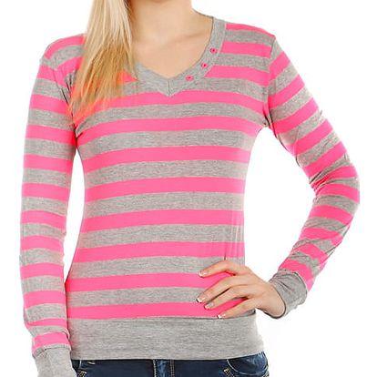 Pruhované tričko s dlouhým rukávem růžová