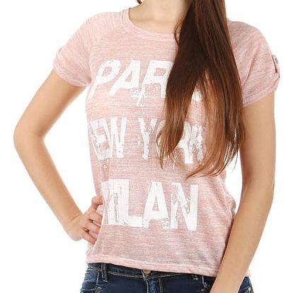 Moderní tričko s potiskem růžová