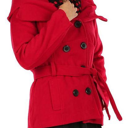 Krátký dámský kabát s límcem červená