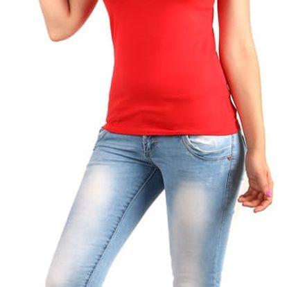 Dámské jednoduché tričko s krajkou červená
