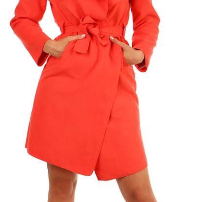 Dlouhý kabát - kardigan s páskem korálová