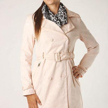 Dámský jarní stylový kabátek s imitací krajky světle růžová