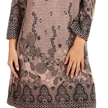 Vzorované šaty áčkového střihu - i pro plnoštíhlé růžová
