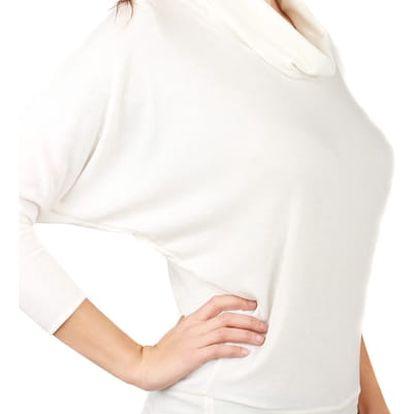 Dámský svetr s netopýřími rukávy bílá