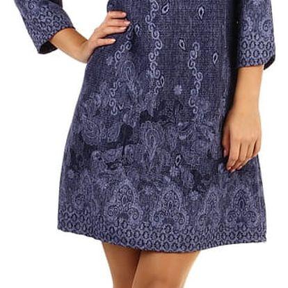 Vzorované šaty áčkového střihu - i pro plnoštíhlé světle šedá