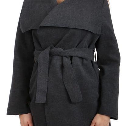 Dlouhý kabát - kardigan s páskem šedá