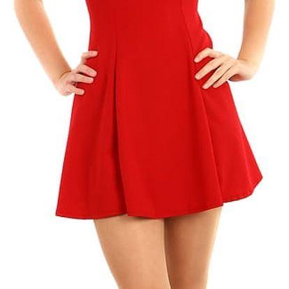 Krátké šaty s volánem a průsvitnou vrchní částí červená