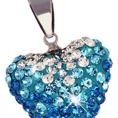 Přívěsek srdce s modrými a čirými kamínky