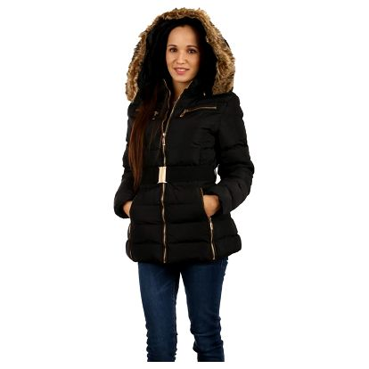Prošívaná zimní bunda s kožíškem hnědá