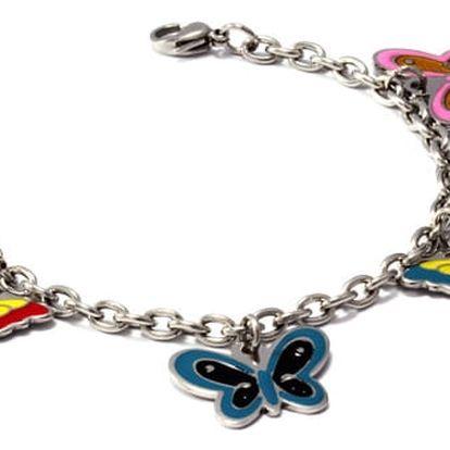 Náramek s barevnými motýlky
