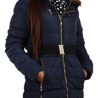 Prošívaná dámská zimní bunda s kožíškem modrá