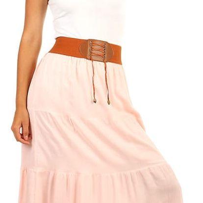 Dámská maxi sukně s ozdobným pasem světle růžová