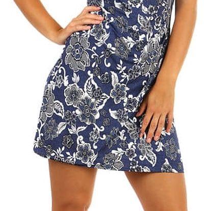 Modré zavinovací šaty s květinovým potiskem- i pro plnoštíhlé