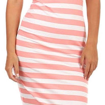 Bavlněné proužkované šaty pro volný čas růžová