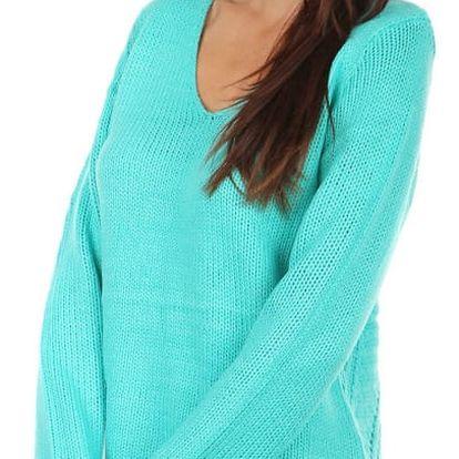 Pohodlný pletený svetřík s ornamenty na zádech bílá
