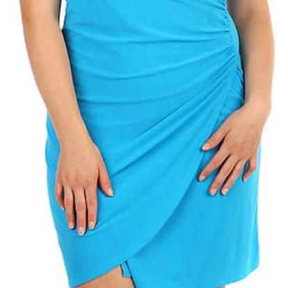 Dámské šaty se zavinovacím efektem pro plnoštíhlé světle modrá
