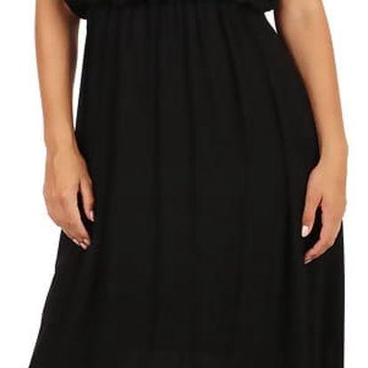 Letní jednobarevné plážové maxi šaty černá