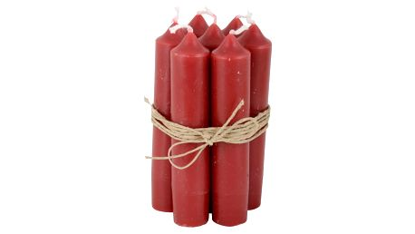 IB LAURSEN Svíčka Red - 6 ks, červená barva