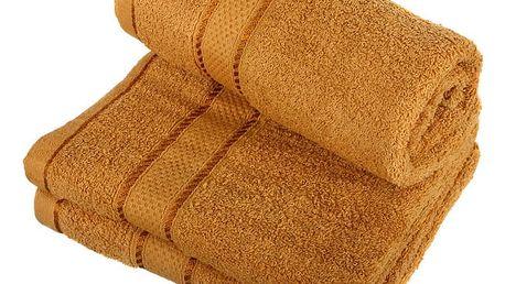 Froté ručník se vzorem Menheten medová