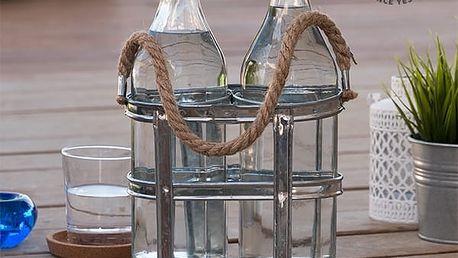 Skleněné Láhve ve Stojanu na Láhve Vintage Coconut