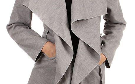 Dlouhý dámský kabát - kardigan s páskem světle šedá