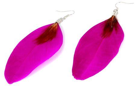Peříčkové visací náušnice růžová