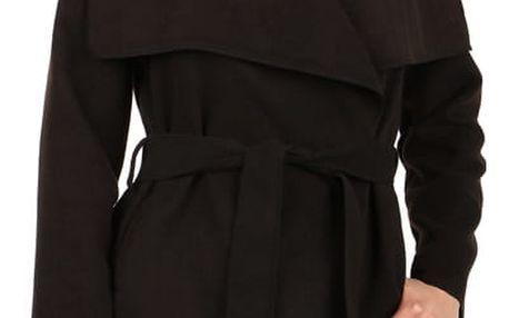 Zavinovací dámský kabát s páskem černá