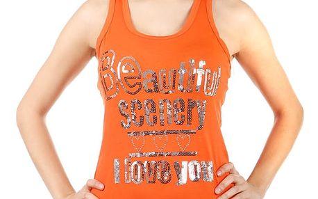 Dámské tílko s výrazným nápisem oranžová
