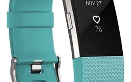 Fitness náramek Fitbit Charge 2 large - Teal Silver (FB407STEL-EU) + DOPRAVA ZDARMA