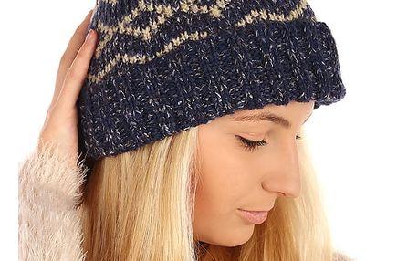 Vzorovaná pletená čepice béžová