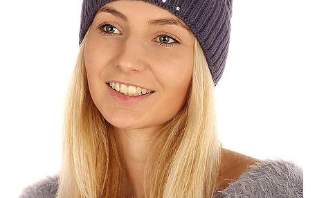 Pletená čepice s kamínky fialová