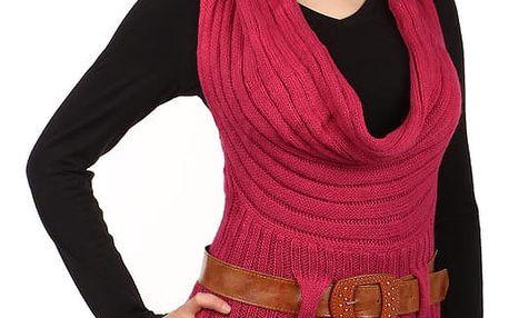 Dámská pletená vesta s páskem světle růžová