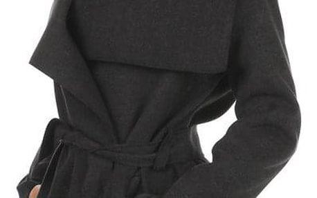 Krátký zavinovací dámský kabát šedá
