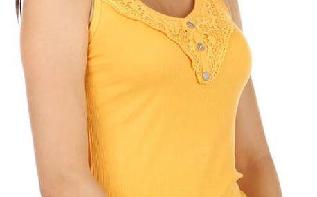 Jednoduché tílko s knoflíky a krajkou žlutá